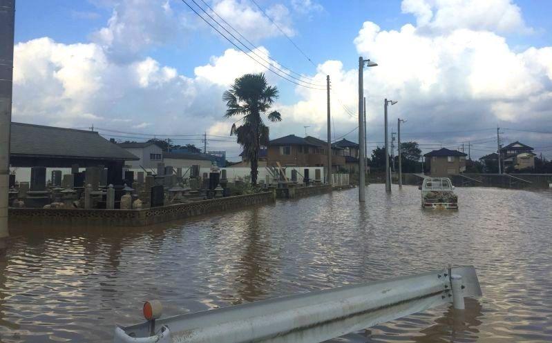 2015年9月関東・東北豪雨の洪水被害の写真
