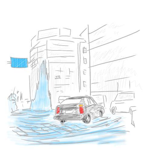 ゲリラ豪雨によりマンホールから吹き上げる下水